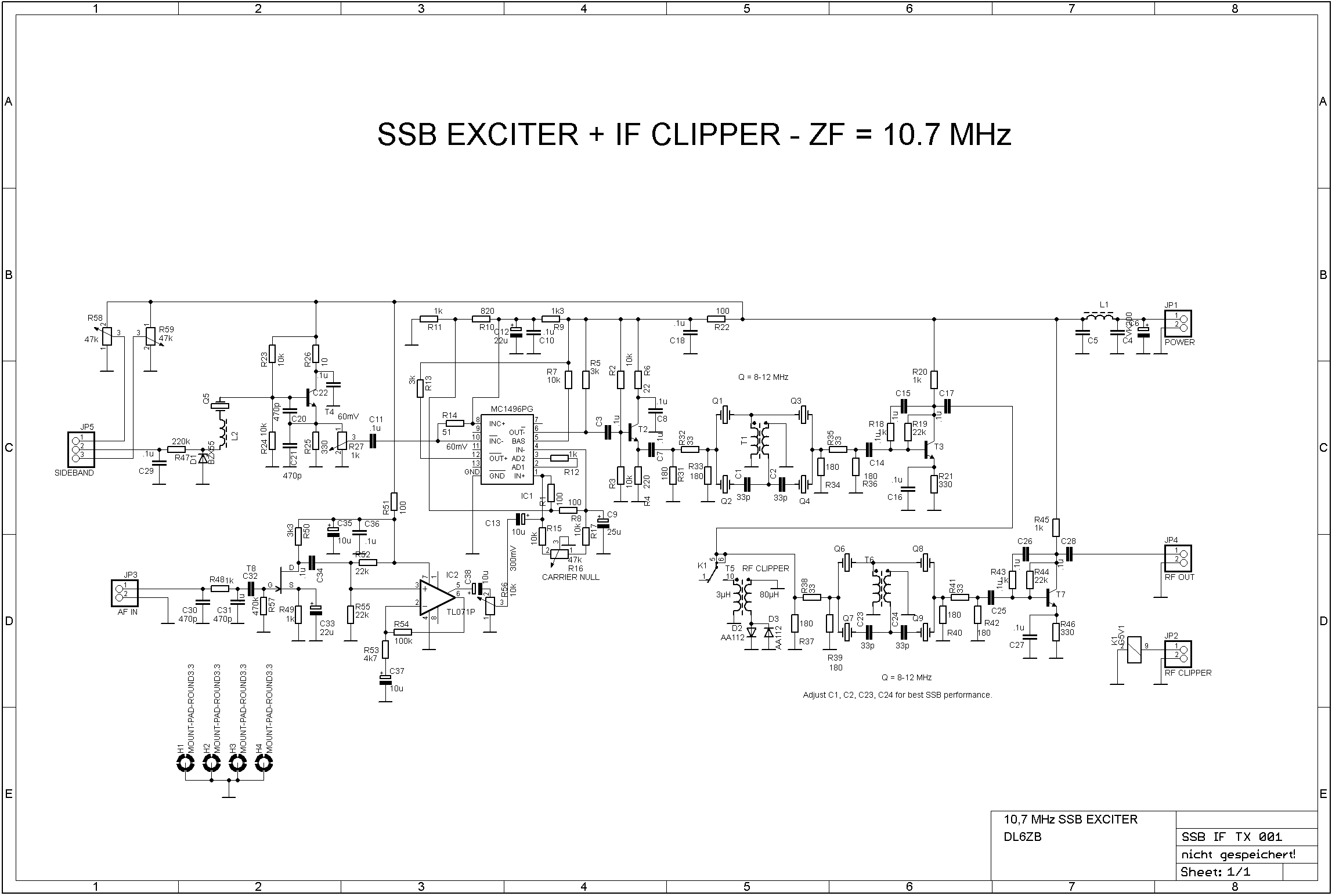 Crystal Filter Schematic Trusted Wiring Diagram C36 Ssb Exciter With If Clipper Receiver Stylized Symbol Circuit 10 7 Mhz
